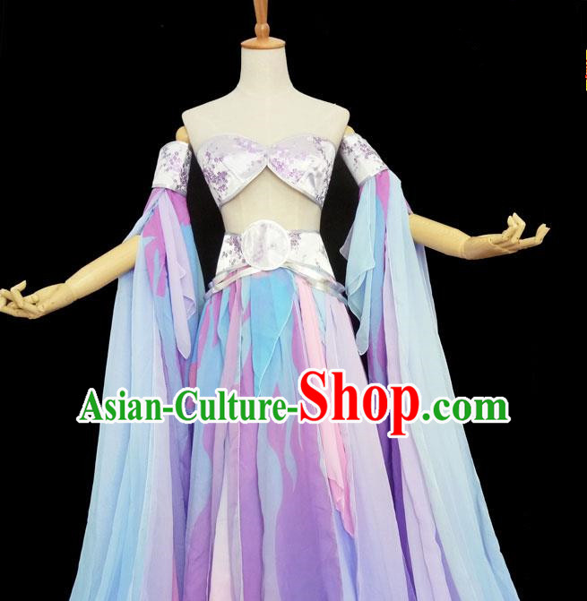 Chinese Ancient Cosplay Swordswoman Purple Hanfu Dress Traditional Han Dynasty Princess Costume for Women