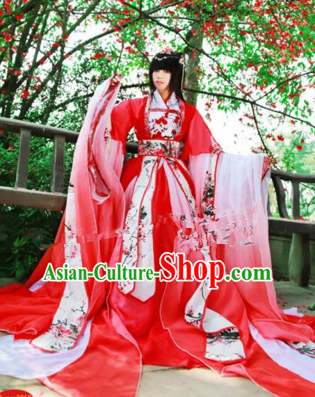 Chinese Ancient Cosplay Princess Red Hanfu Dress Traditional Song Dynasty Swordswoman Costume for Women