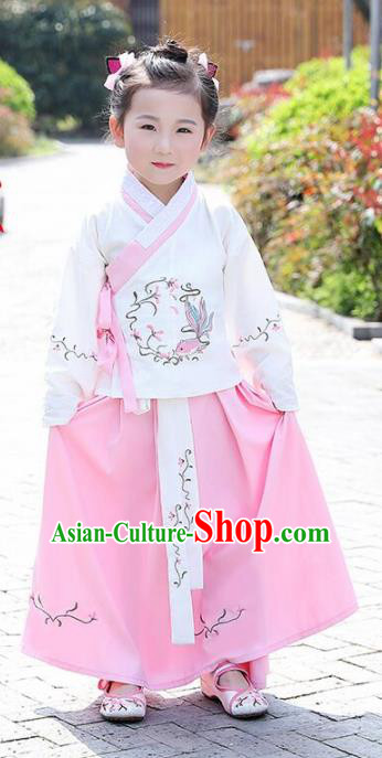 Traditional Chinese Ancient Ming Dynasty Costumes White Blouse and Pink Skirt for Kids