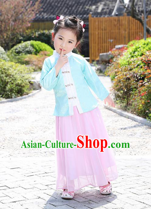 Chinese Ancient Ming Dynasty Costumes Traditional Green Blouse and Pink Skirt for Kids