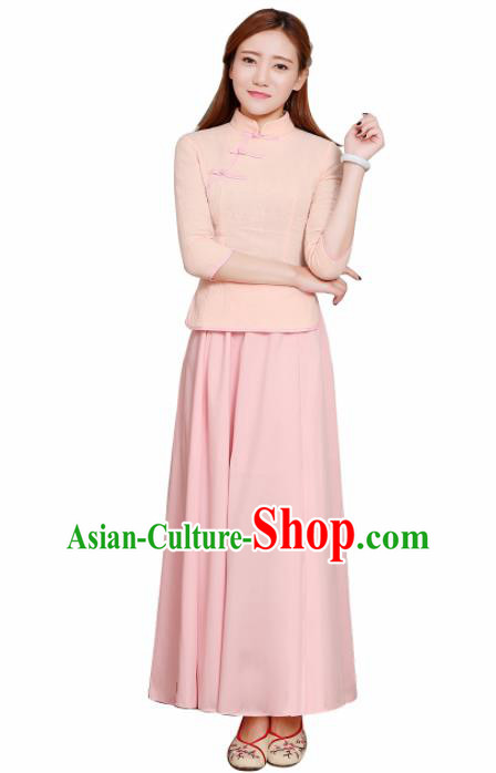 Chinese Ancient Bridesmaid Costumes Traditional Embroidered Champagne Qipao Blouse and Skirt for Women
