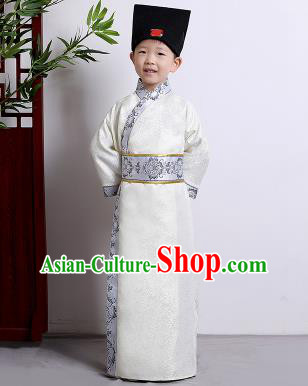 Chinese Ancient Scholar Costumes Traditional White Robe for Kids