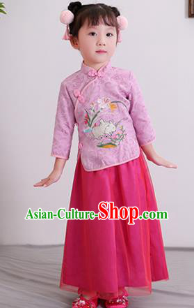 Chinese Ancient Republic of China Children Costumes Traditional Purple Blouse and Skirt for Kids