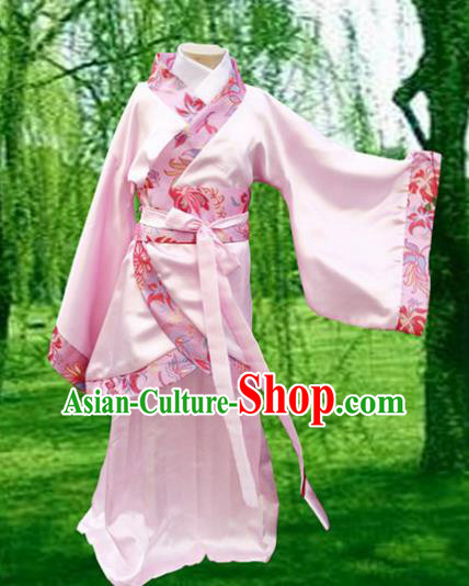 Chinese Ancient Fairy Pink Hanfu Dress Han Dynasty Princess Costume for Kids