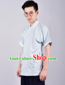 Chinese Ancient Swordsman Hanfu Han Dynasty Costume Blue Tang Suit Shirt for Men