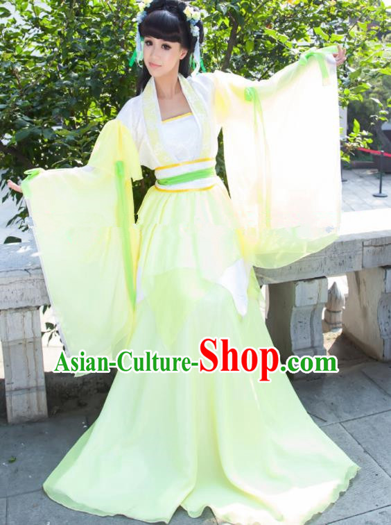 Chinese Ancient Cosplay Peri Goddess Green Hanfu Dress Traditional Tang Dynasty Princess Costume for Women