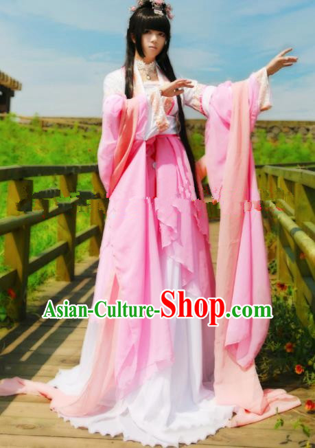 Chinese Ancient Cosplay Peri Goddess Pink Hanfu Dress Traditional Tang Dynasty Princess Costume for Women