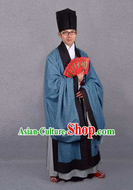 Chinese Ancient Taoist Blue Cloak Traditional Ming Dynasty Minister Costume for Men
