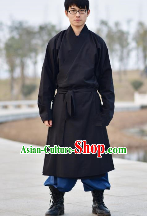 Chinese Ancient Traditional Ming Dynasty Taoist Priest Costume Monk Black Robe for Men