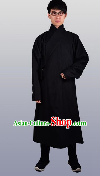 Chinese Ancient Traditional Ming Dynasty Swordsman Costumes Black Robe for Men