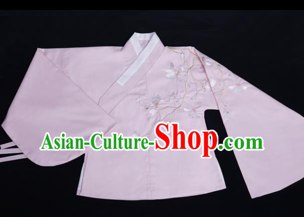 Chinese Ancient Ming Dynasty Princess Costume Embroidered Pink Blouse for Rich Women
