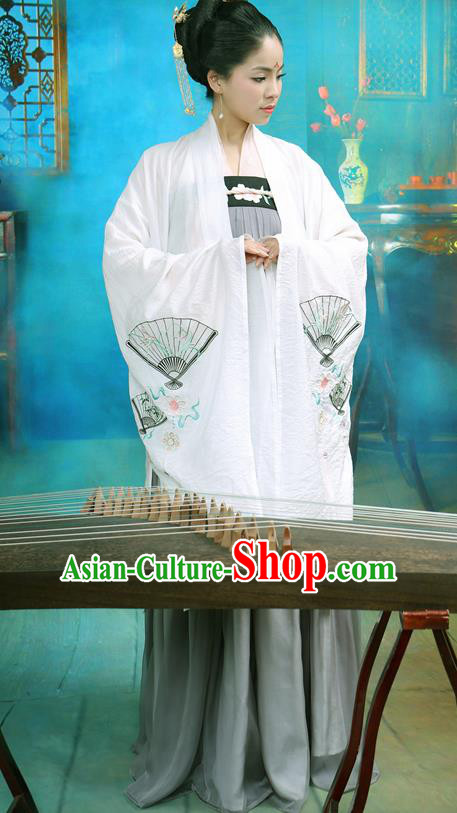 Chinese Ancient White Cloak Hanfu Dress Tang Dynasty Princess Embroidered Costume for Rich Women