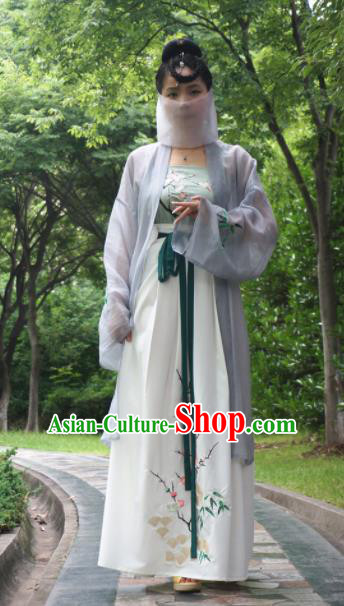 Chinese Ancient Nobility Lady Dress Tang Dynasty Embroidered Costume for Rich Women