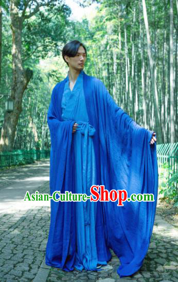 Chinese Ancient Traditional Han Dynasty Blue Cloak Scholar Swordsman Costumes for Men