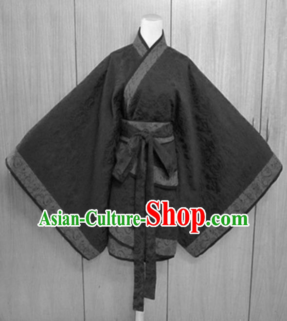 Traditional Chinese Han Dynasty Costume Ancient Princess Black Curving-Front Robe for Women