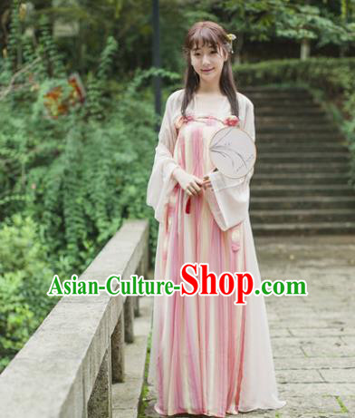 Traditional Chinese Tang Dynasty Maidenform Costume Ancient Princess Pink Hanfu Dress for Women