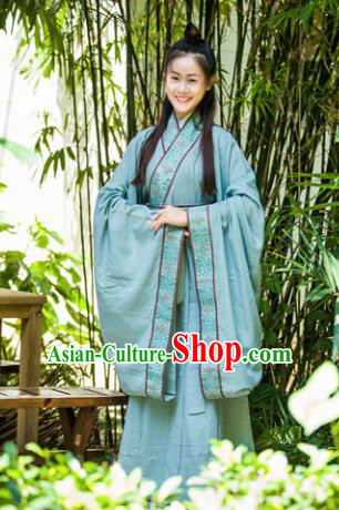 Traditional Chinese Han Dynasty Princess Costume Ancient Green Curving-Front Robe for Women