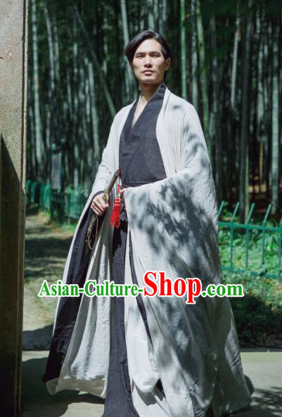 Chinese Ancient Traditional Han Dynasty Grey Wide Sleeve Cloak Scholar Swordsman Costumes for Men