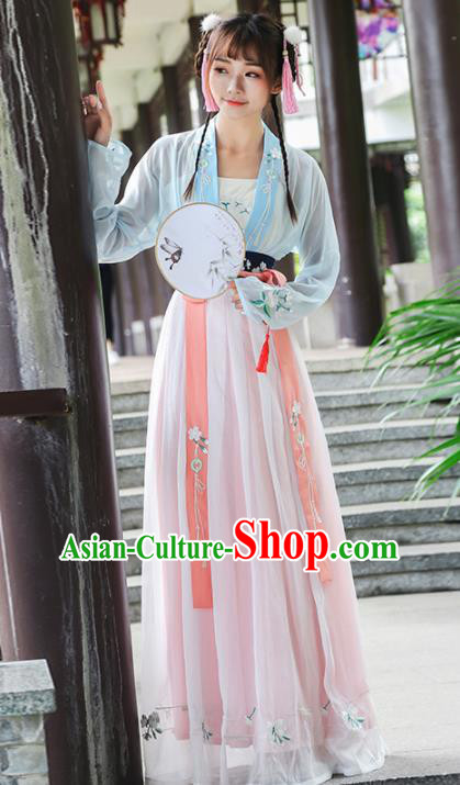 Chinese Ancient Fairy Dress Song Dynasty Embroidered Costumes for Rich Women