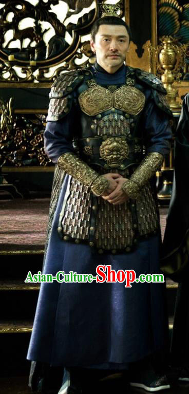 Ancient Chinese Tang Dynasty General Armor The Rise of Phoenixes Military Officer Costume for Men