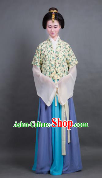 Traditional Chinese Tang Dynasty Young Lady Costume Ancient Hanfu Dress for Poor Women