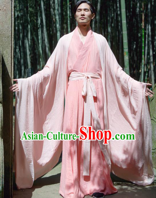 Chinese Ancient Traditional Jin Dynasty Pink Wide Sleeve Cloak Scholar Swordsman Costumes for Men