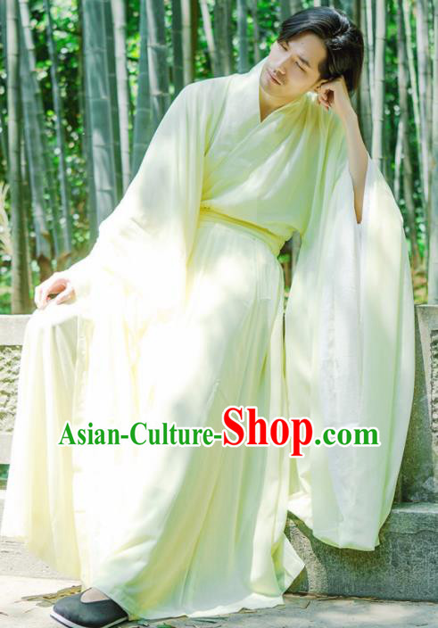Chinese Ancient Traditional Jin Dynasty Yellow Wide Sleeve Cloak Scholar Swordsman Costumes for Men