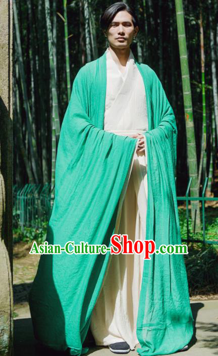 Chinese Ancient Traditional Jin Dynasty Green Wide Sleeve Cloak Scholar Swordsman Costumes for Men