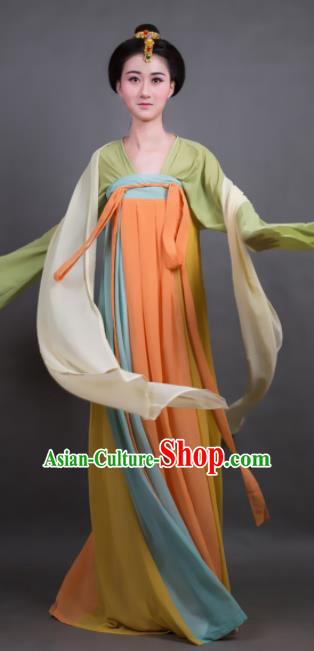 Traditional Chinese Tang Dynasty Maidenform Orange Hanfu Dress Ancient Palace Princess Costume for Women