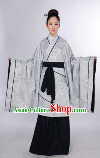 Traditional Chinese Han Dynasty Marquise Costume Ancient Princess Argent Curving-Front Robe for Women