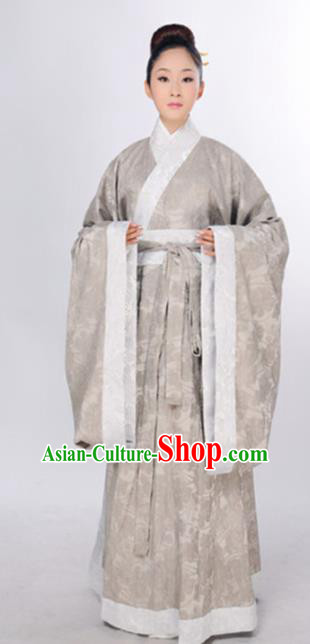 Traditional Chinese Han Dynasty Marquise Costume Ancient Taoist Nun Curving-Front Robe for Women