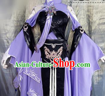Asian Chinese Cosplay Peri Costume Ancient Swordswoman Purple Dress for Women