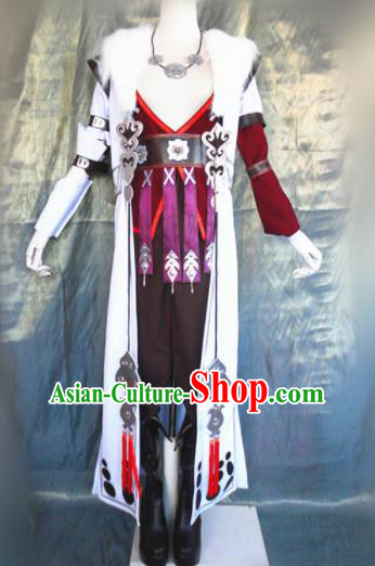 Asian Chinese Cosplay Female Castellan Costume Ancient Swordswoman Purple Dress for Women