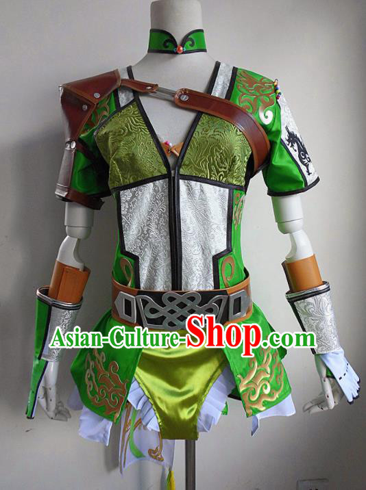 Asian Chinese Cosplay Swordswoman Costume Ancient Female Knight Dress for Women