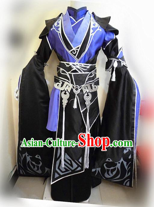 Asian Chinese Cosplay Royal Highness Customized Black Costume Ancient Swordsman Clothing for Men