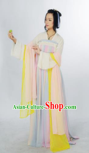 Traditional Chinese Tang Dynasty Court Maid Costume Ancient Maidenform Hanfu Dress for Women