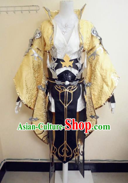 Asian Chinese Cosplay General Warrior Golden Customized Costume Ancient Swordsman Clothing for Men
