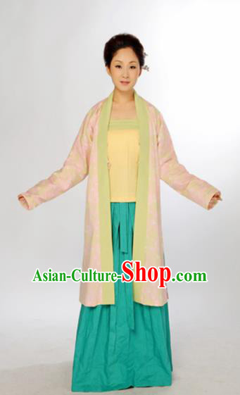 Traditional Chinese Song Dynasty Village Women Costume Ancient Hanfu Dress for Women
