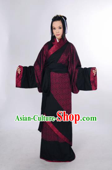 Traditional Chinese Han Dynasty Marquise Costume Ancient Palace Lady Curving-Front Robe for Women