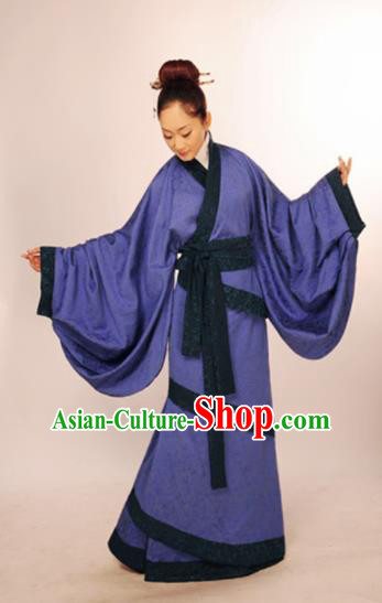Traditional Chinese Han Dynasty Marquise Costume Ancient Princess Purple Curving-Front Robe for Women
