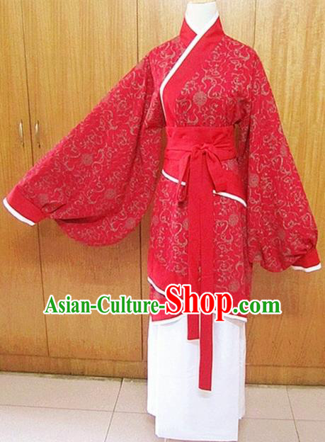 Traditional Chinese Han Dynasty Young Lady Red Hanfu Dress Ancient Princess Costume for Women