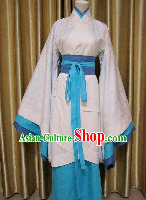 Traditional Chinese Han Dynasty Maidenform White Curving-Front Robe Ancient Princess Costume for Women