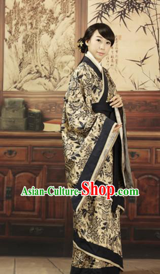 Asian Chinese Han Dynasty Marquise Curving-Front Robe Ancient Traditional Maidenform Costume for Women