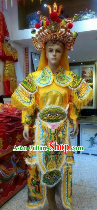 Traditional Chinese Beijing Opera Takefu Costume General Embroidered Yellow Clothing and Hat for Men