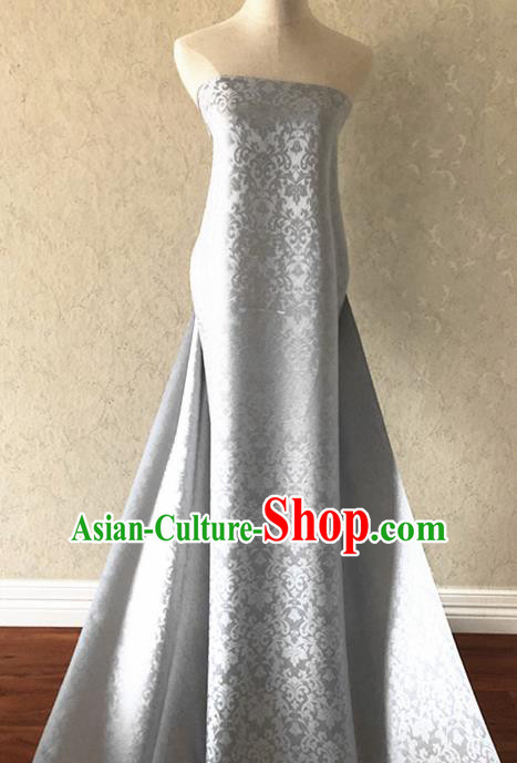 Asian Chinese Traditional Fabric Classical Pattern Grey Brocade Cheongsam Cloth Silk Fabric