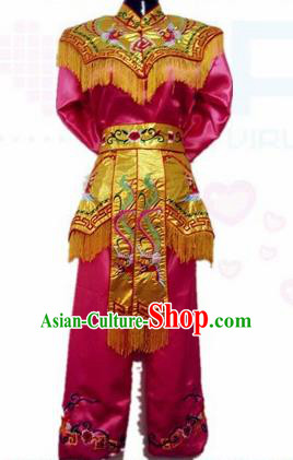 Traditional Chinese Beijing Opera Swordswoman Rosy Costume Embroidered Clothing for Women