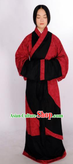 Chinese Traditional Han Dynasty Countess Red Hanfu Dress Ancient Maidenform Costumes for Women