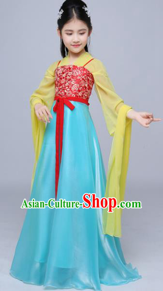 Chinese Tang Dynasty Princess Costume Ancient Peri Hanfu Dress for Kids