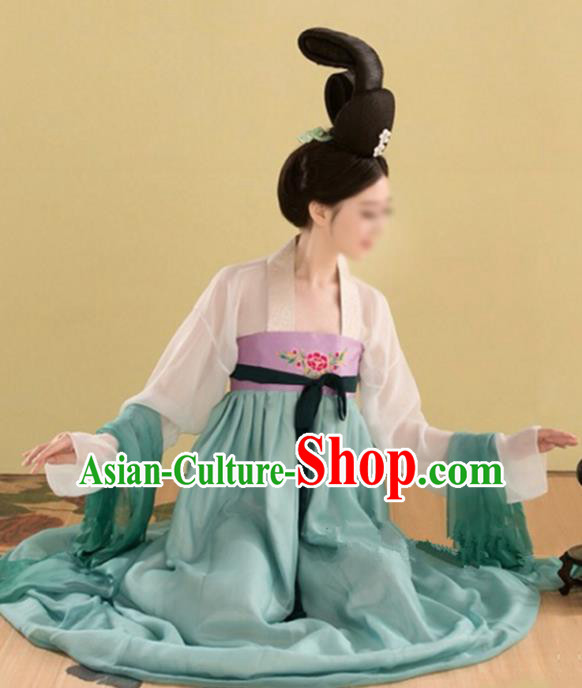 Chinese Tang Dynasty Princess Embroidered Costume Ancient Fairy Hanfu Dress for Women