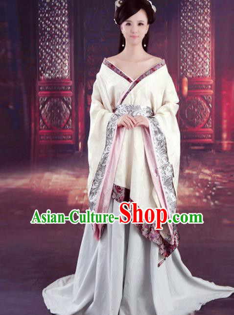 Chinese Han Dynasty Princess Embroidered Costume Ancient Fairy Hanfu Dress for Women